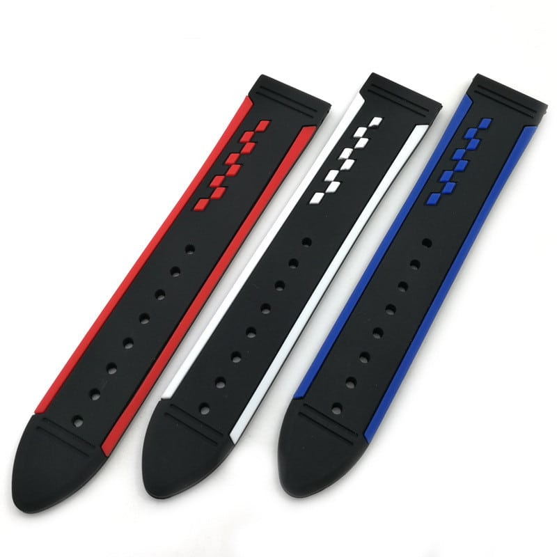 רצועת סיליקון 20 מילימטר - דוגמא צבעונית - Silicon dual color pattern 20mm Watch band